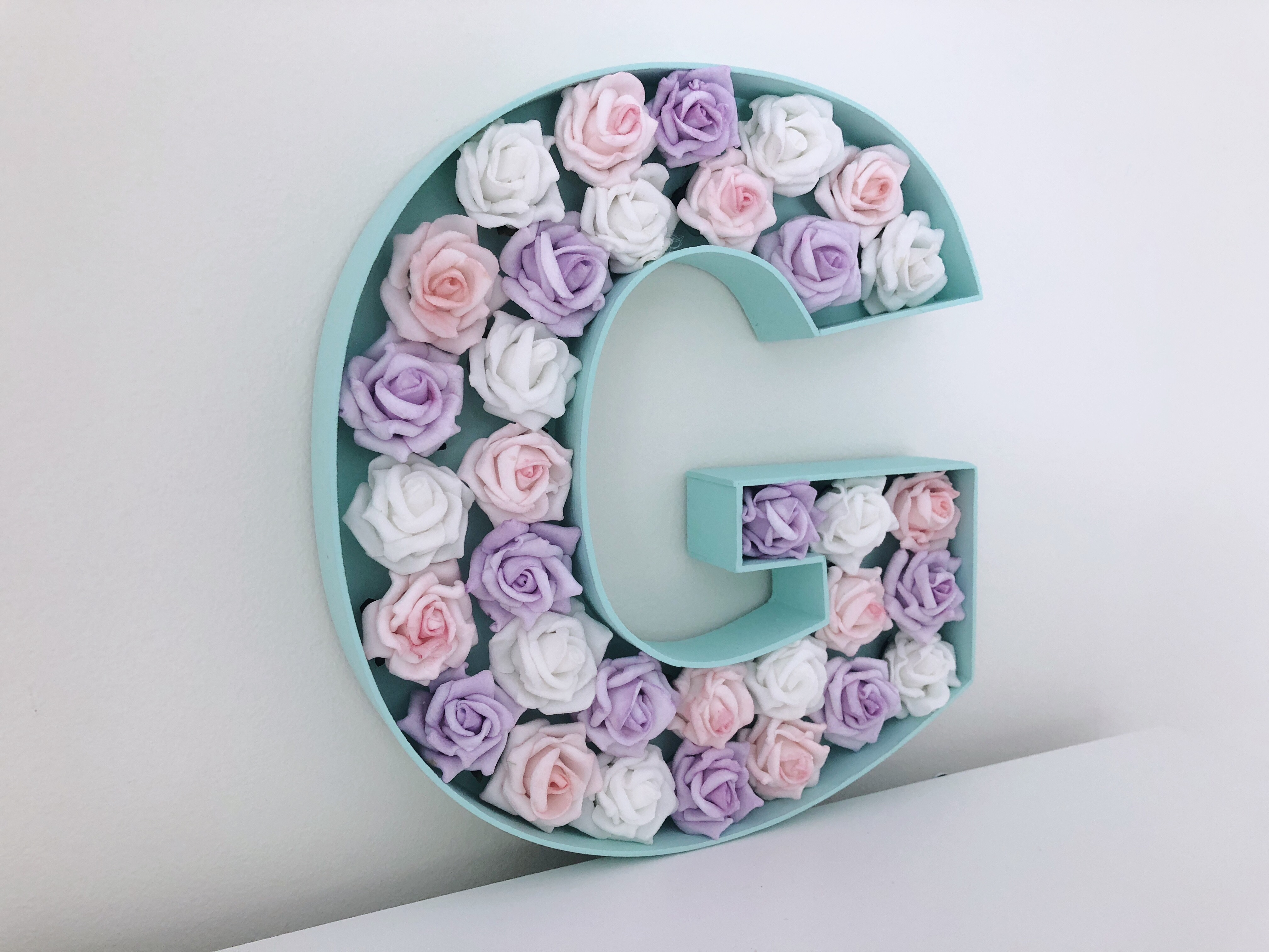 New Baby Gift Mint Green Pink Amp Lilac Rose Filled Letter