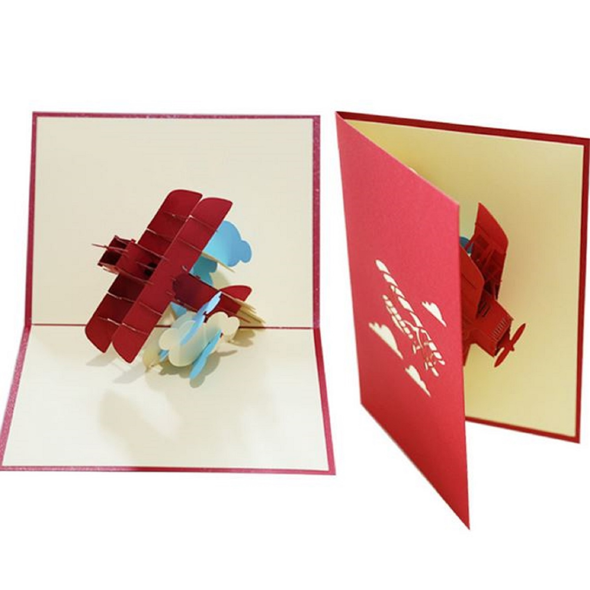 Remarkable Handmade 3D Popup Birthday Card Biplane Fathers Day Wedding Funny Birthday Cards Online Fluifree Goldxyz